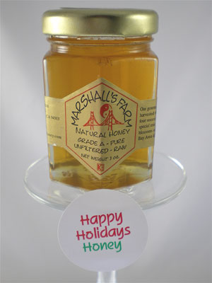 Honey 3 oz. Glass Jar Sampler - Happy Holidays