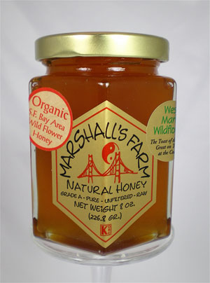 Honey 8 oz Glass Gift Jar - West Marin Wildflower