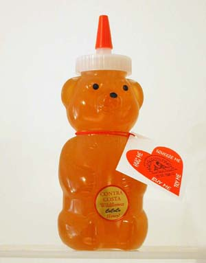 Honey 12 oz. Plastic Squeeze Bear - Contra Costa Wildflower