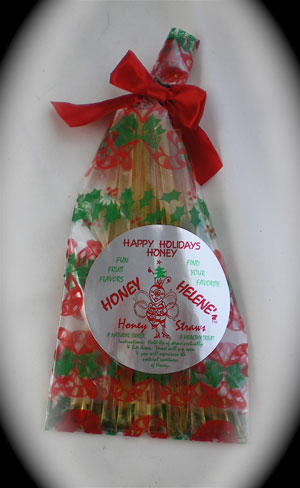 Honey Straw Pack - Christmas Theme Natural Honeys
