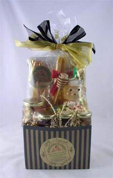 Gift - Honey Gift Basket - Black & Gold Pin Stripe Basket Box $55.00 & up