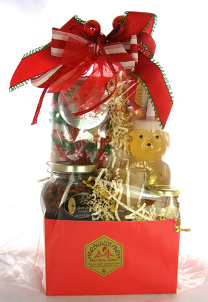 Gift - Honey Gift Basket - Christmas Red- $55.00 & up