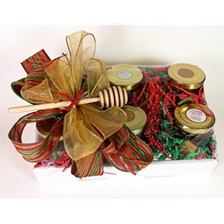 6 8oz Honeys in Gift Tray Box with Bow and Honey Dipper