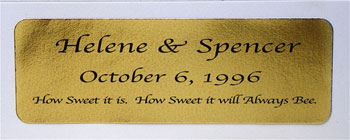 Gold Foil Personalized Labels, 24 count. Enter up to 3 lines of text in notes on order page.