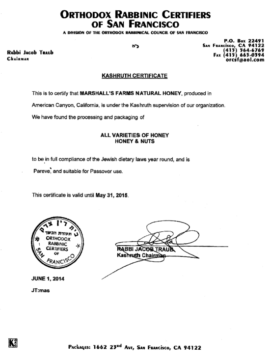 Kosher Honey Certificate