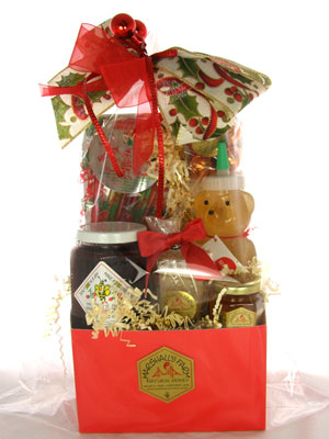 Gift - Christmas Red Gift Basket Box w/ MIX-INS & More
